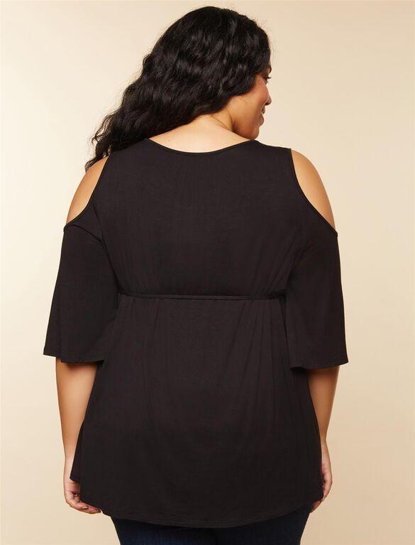 Plus Size Cold Shoulder Maternity Top, Black