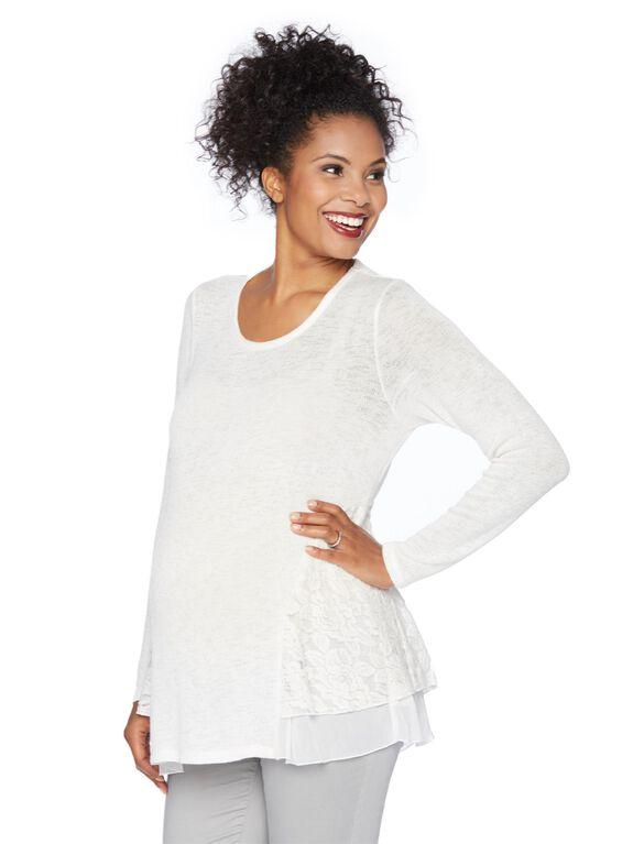 Lace Trim Maternity Sweatshirt, Ivory