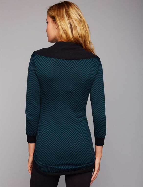 Off The Shoulder Maternity Sweater, Chevron Print