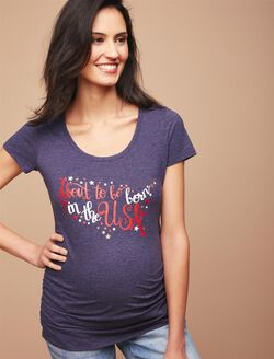 About to be Born in the USA Maternity Tee, Blue