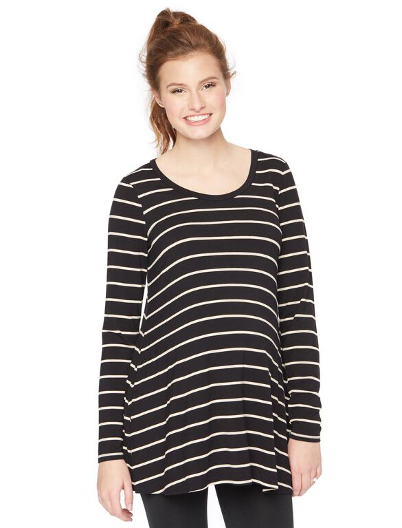 Long Sleeve Legging Maternity Tee- Stripe, Oat/Black Stripe