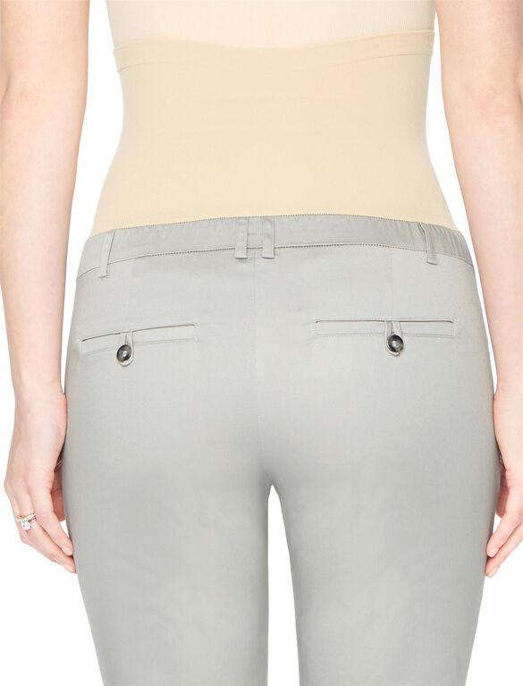 Secret Fit Belly Sateen Straight Leg Maternity Pants, Steel Grey
