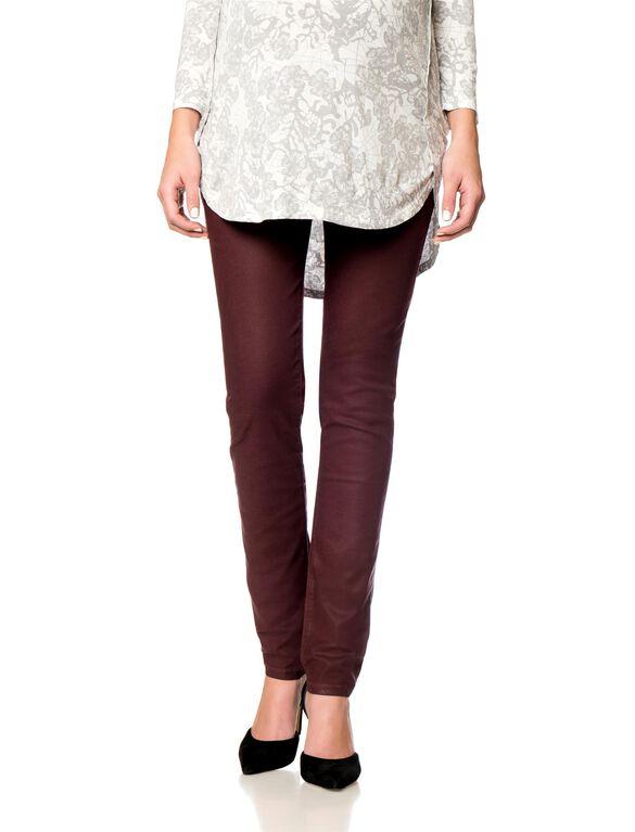 DL1961 Secret Fit Belly Skinny Leg Maternity Jeans, Coated Burgundy