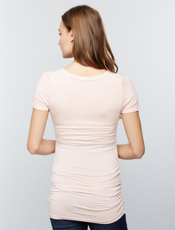 V Scoop Neck Side Ruched Maternity Tee, Seashell Pink