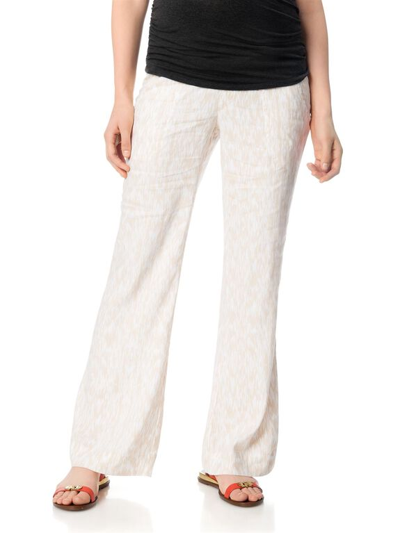 Pull On Style Linen Wide Leg Maternity Pants, Print