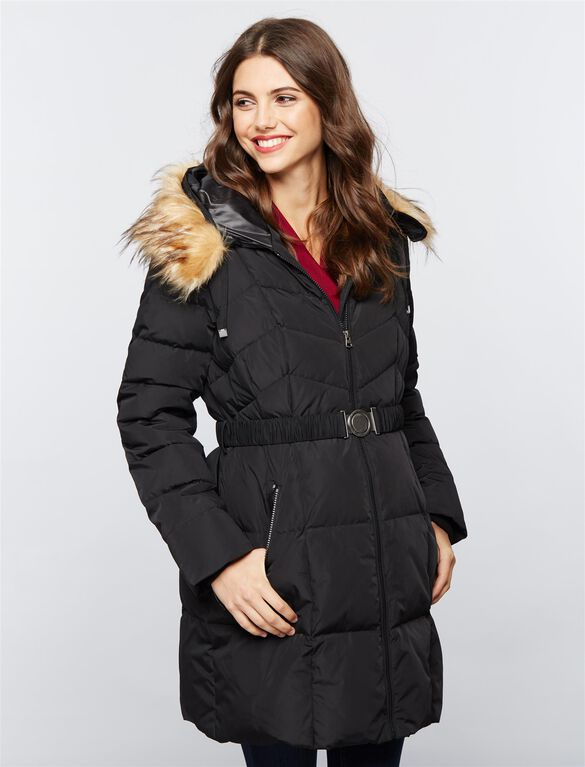Faux Fur Hood Maternity Puffer Coat, Black