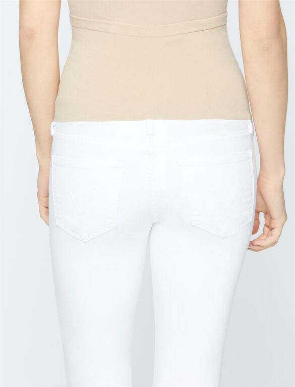 Mother Secret Fit Belly Ponyboy Fray Maternity Jeans- White, Stayin Alive - White