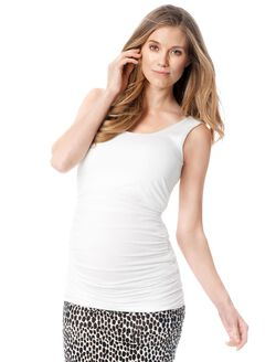 Isabella Oliver Scoop Neck Maternity Tank Top- White, Pure White