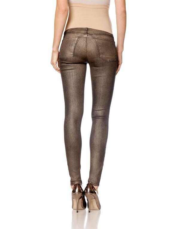 J Brand Secret Fit Belly Skinny Leg Maternity Jeans, Gold Metallic