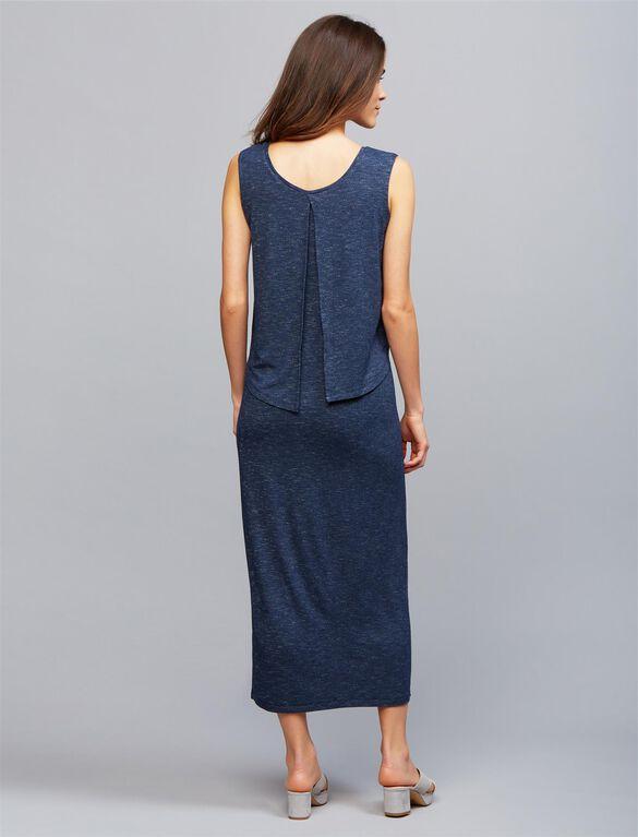 Ripe Pull Down Back Interest Nursing Dress, NAVY