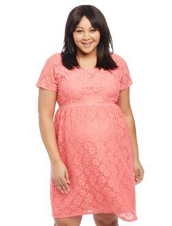 Plus Size Crochet Lace Maternity Dress, Sugar Coral