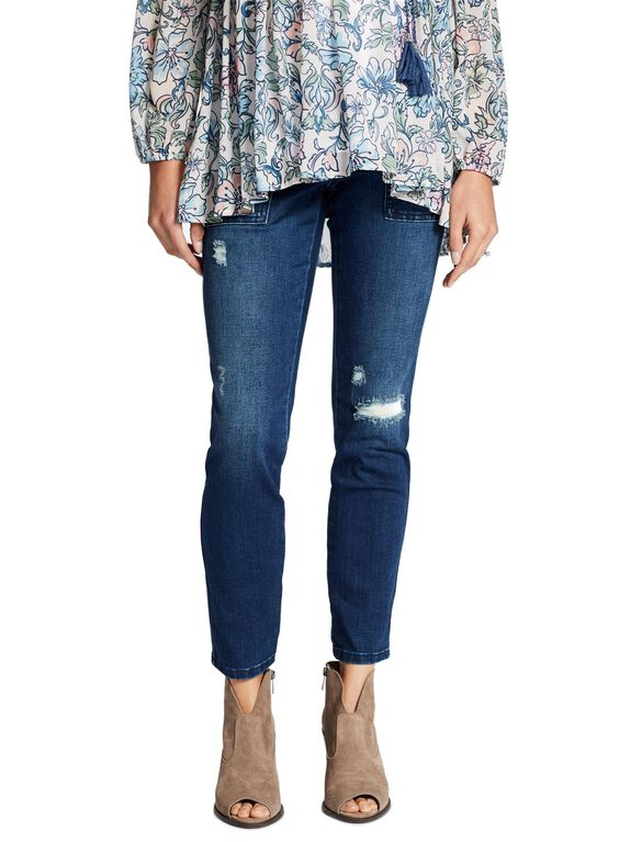 Jessica Simpson Side Panel Maternity Ankle Jeans, Dark Wash