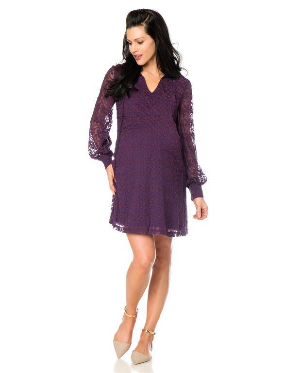 Shift Dress Maternity Dress, Aubergine