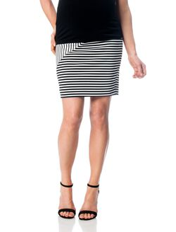 Rebecca Minkoff Secret Fit Belly Maternity Skirt, Black/White Stripe