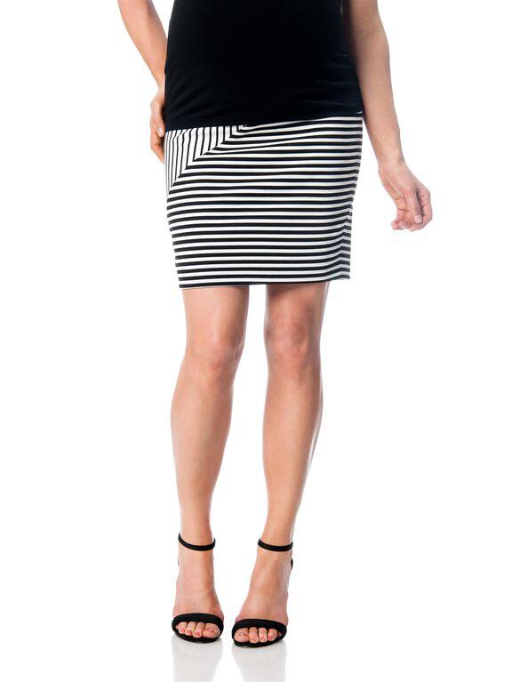 Rebecca Minkoff Secret Fit Belly Maternity Skirt, Black/White Stripe