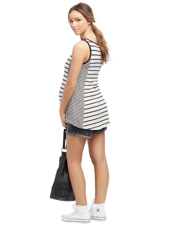Striped Scoop Neck Maternity Tank Top, Egret / Black