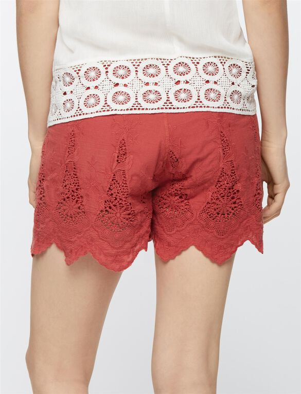 Secret Fit Belly Lace Maternity Shorts, Sunwashed Red