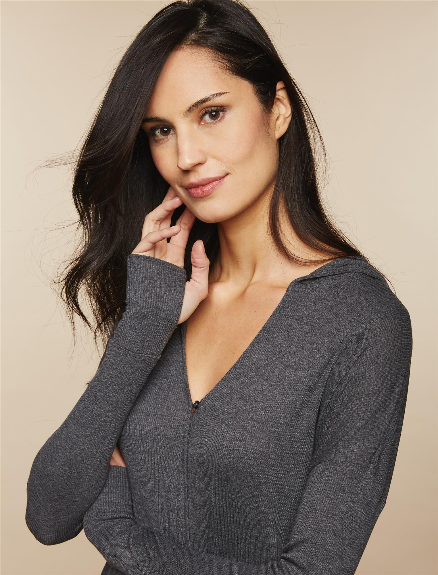 Hooded Maternity Wrap Top