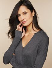 Hooded Maternity Wrap Top, Grey