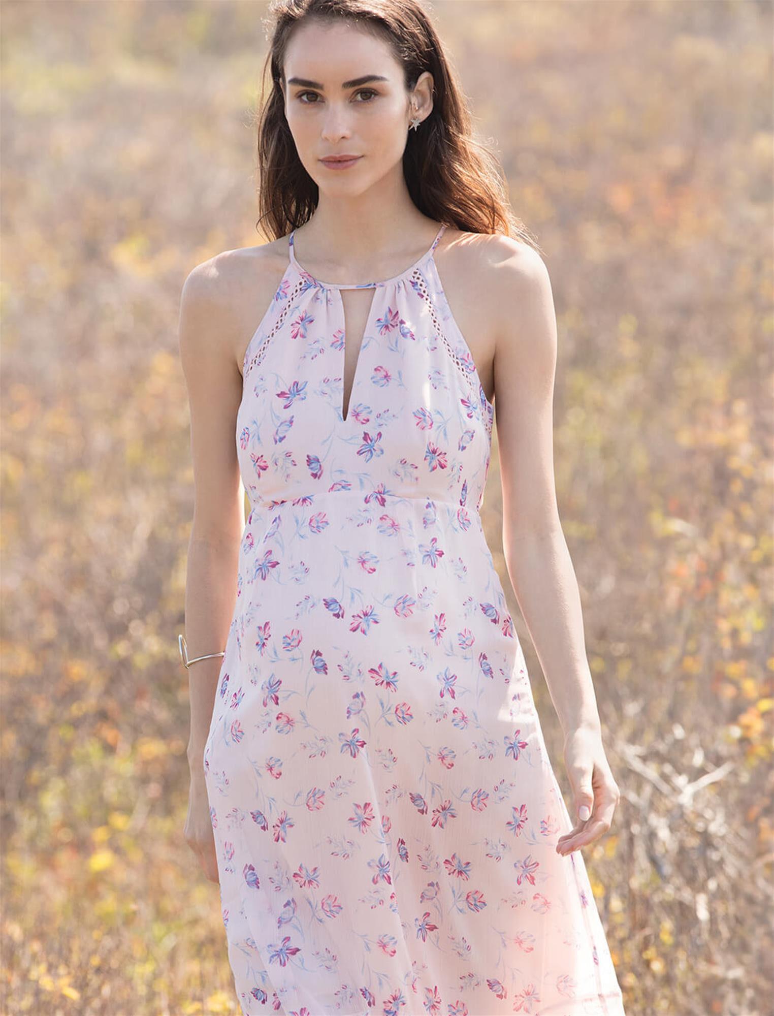 Floral Halter Maternity Maxi Dress