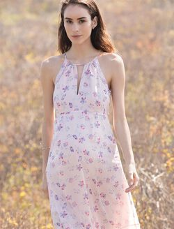Floral Halter Maternity Maxi Dress, Pink Floral