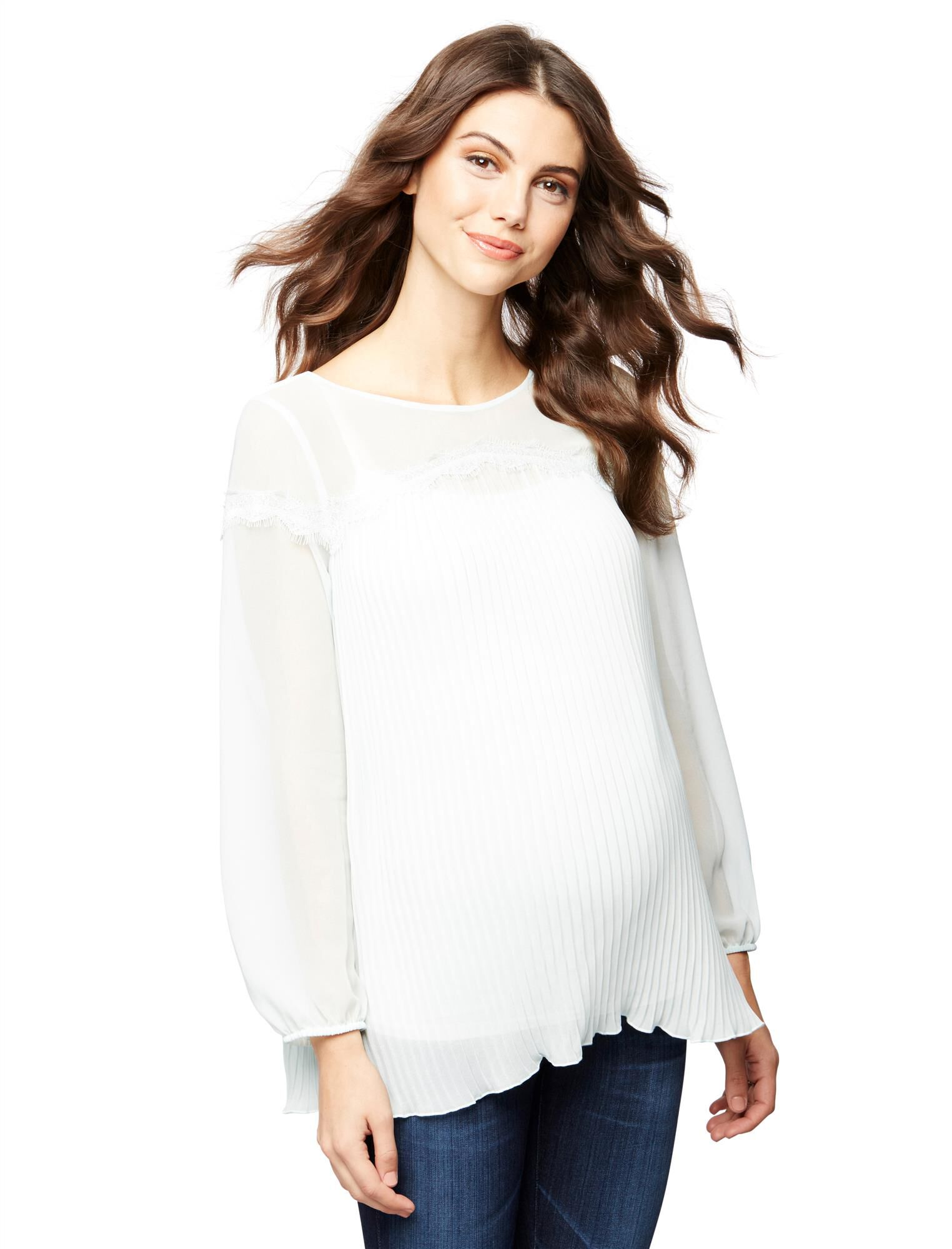 Pleated Lace Detail Maternity Blouse