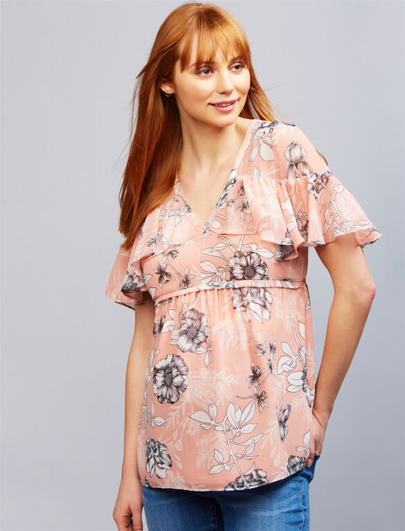 Ruffle Trim Floral Maternity Blouse, Pink Floral