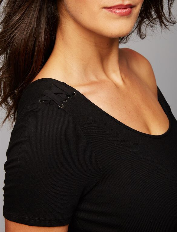 Splendid Lace Shoulder Maternity Top, Black