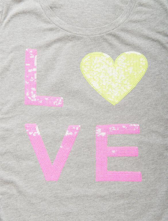 Love Maternity Graphic Tee, Light Grey