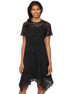 Lace Hanky Hem Maternity Dress, Black