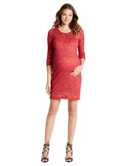 Jessica Simpson Lace Body Con Maternity Dress, Holly Berry