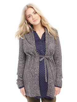Drawstring Waist Maternity Cardi Sweater, Grey