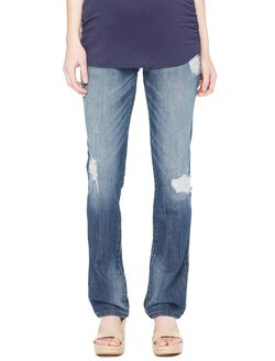 Secret Fit Belly Rip and Repair Flare Maternity Jeans, Night Breeze Dark