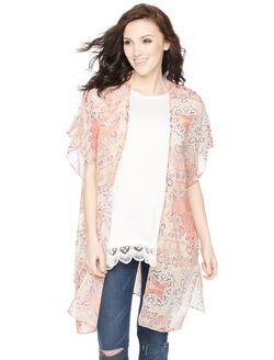 Wendy Bellissimo Lightweight Maternity Kimono- Neutral Print, Neutral Print