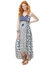 High-low Mixed Print Maternity Dress, Multi Print