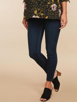 Side Panel Skinny Leg Maternity Jeans, Dark Wash