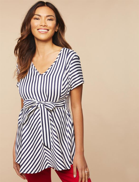 Jessica Simpson Knot Front Maternity Blouse, Blue/White Stripe