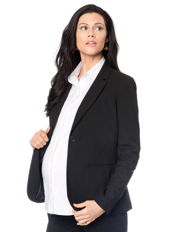 Tailored Bi-stretch Suiting Maternity Jacket, Black