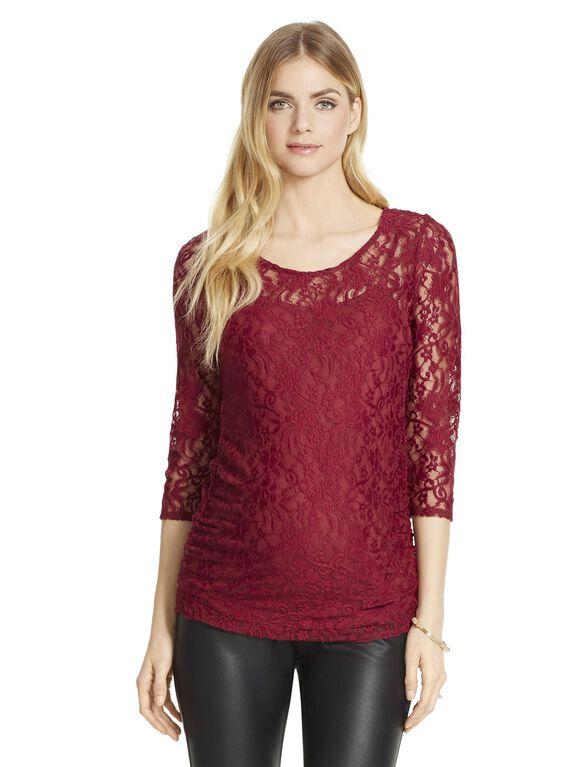 Jessica Simpson Lace Maternity Shirt, Beet Red