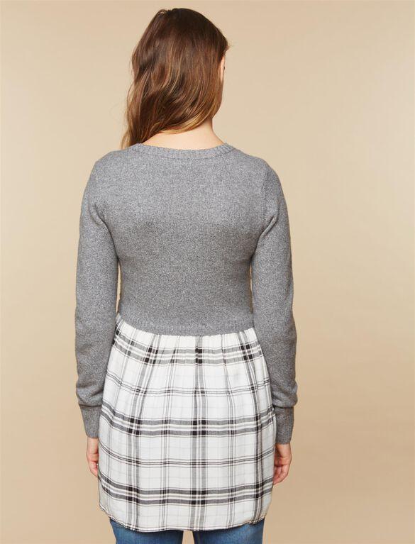 Babydoll Maternity Sweater Tunic, Plaid Multi