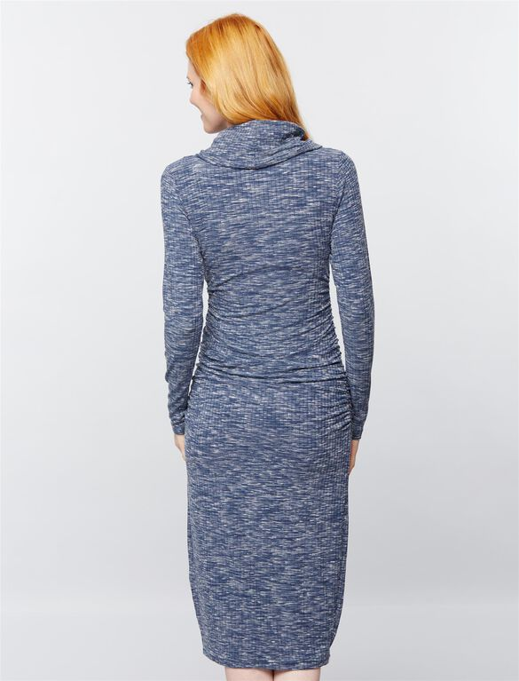 Ripe Cowl Neck Ribbed Maternity Dress, Blue