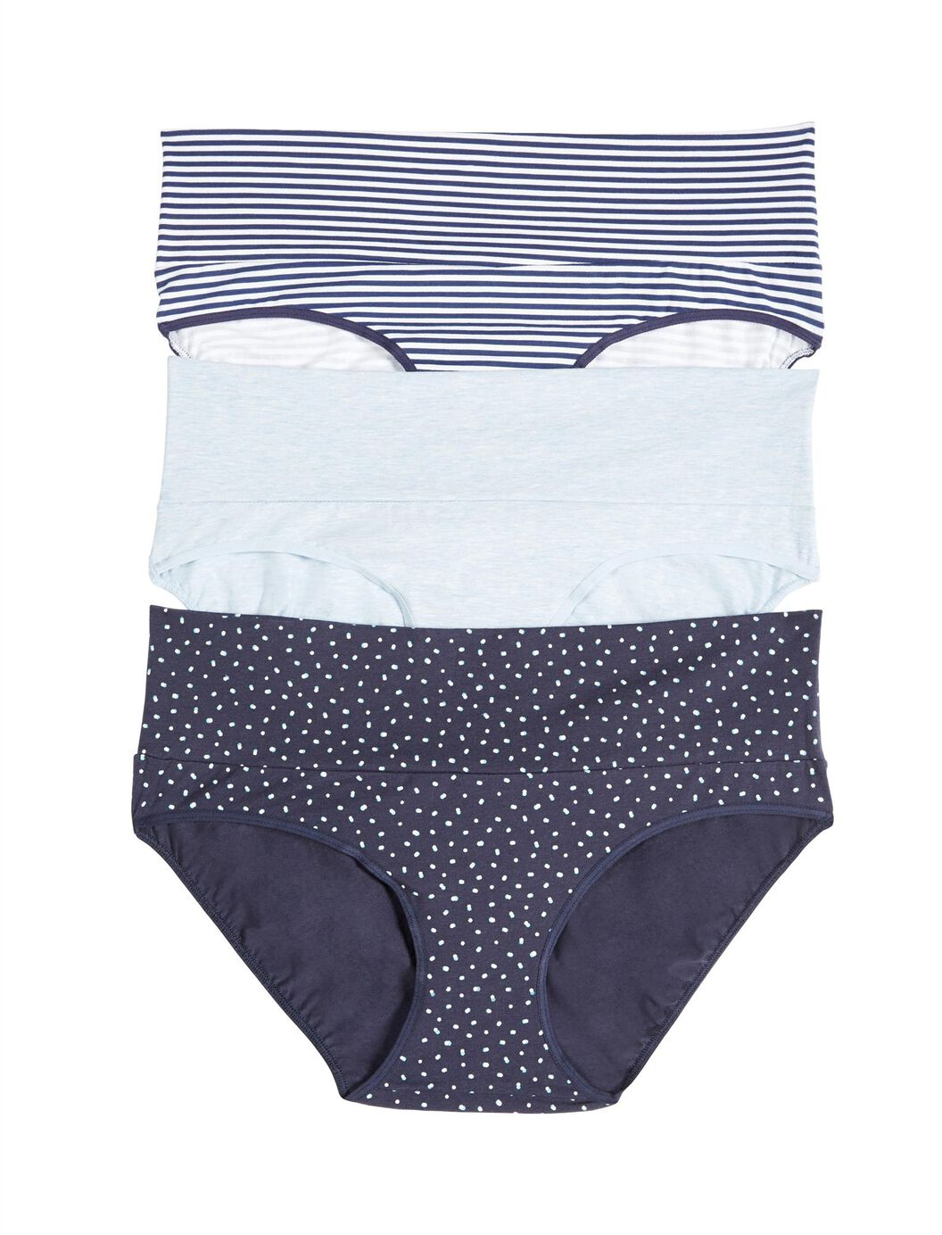 Maternity Fold Over Panties (3 Pack)- Blue Stripe/Dot at Motherhood Maternity in Victor, NY   Tuggl