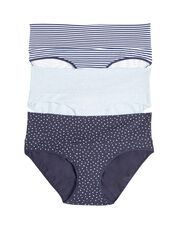 Maternity Fold Over Panties (3 Pack)- Blue Stripe/Dot, Cool Palette