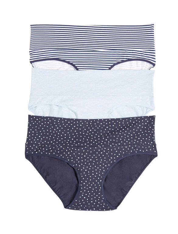 Maternity Fold Over Panties (3 Pack)- Blue Stripe/Dot, Cool Palette