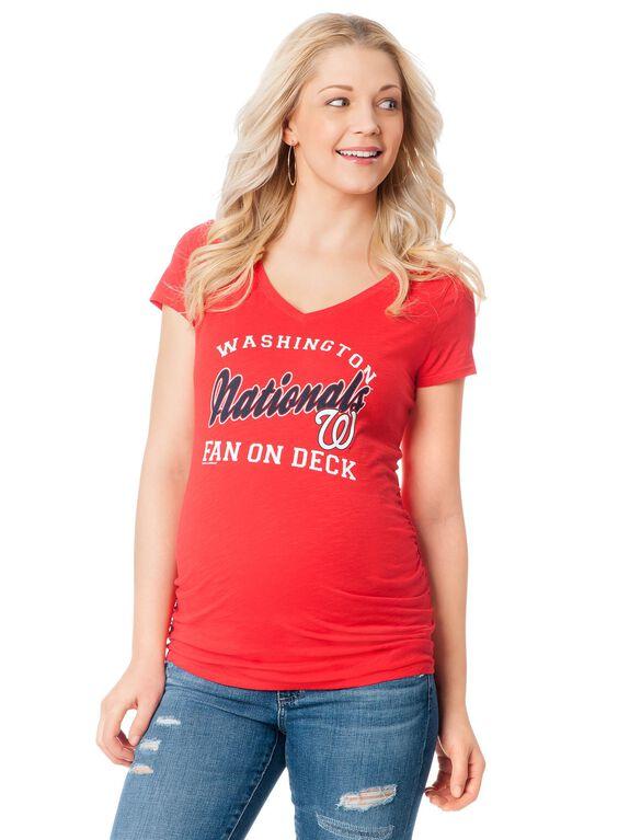 Washington Nationals MLB Short Sleeve Maternity Graphic Tee, Nationals