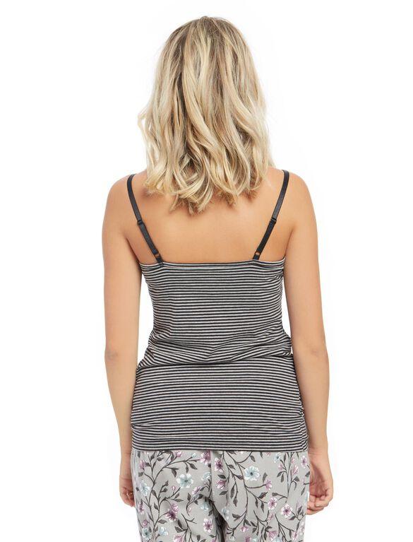 Clip Down Nursing Cami, Black / Grey Stripe