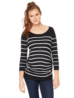 Striped Side Ruched Maternity Sweater, Black/White