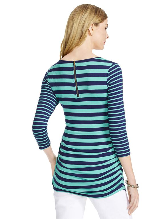 Jessica Simpson Mixed Striped Maternity Top, Navy/Jade