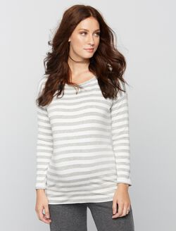 Striped Maternity Sweatshirt, White Stripe