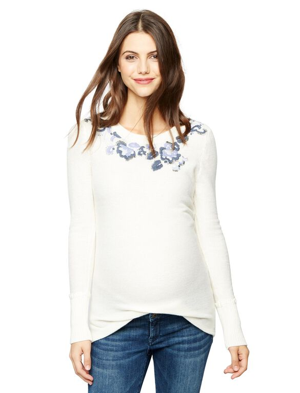 Embroidered Neckline Maternity Sweater, White